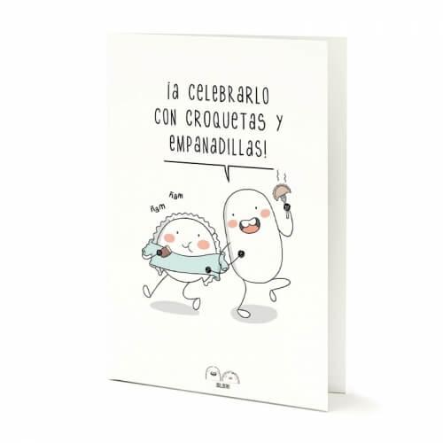 """Tarjeta A5 """"A celebrarlo"""" de Croqueta y Empanadilla"""