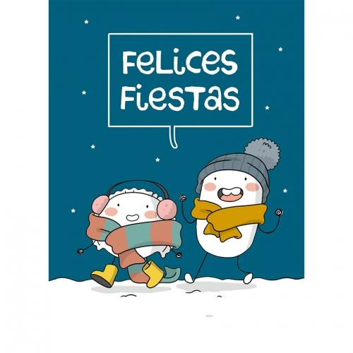 """Tarjeta A5 """"Felices Fiestas"""" de Croqueta y Empanadilla"""