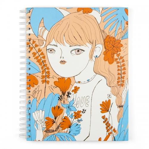 """Libreta A4 """"Flores naranjas"""" de Coco Escribano"""